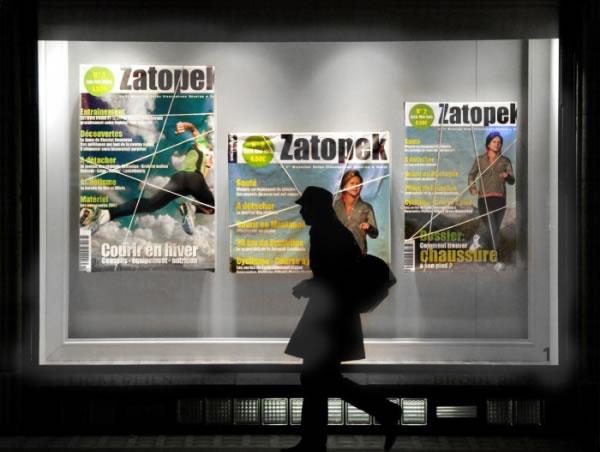 Magazine Zatopek en vitrine