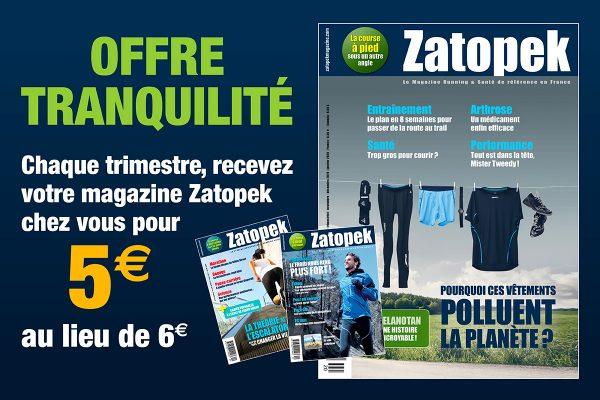 Abonnement Tranquillité Zatopek magazine